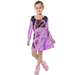 Purple Fractal Artwork Feather Kids  Long Sleeve Velvet Dress
