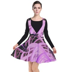 Purple Fractal Artwork Feather Plunge Pinafore Dress by Pakrebo