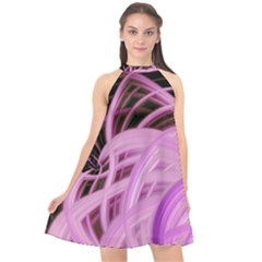 Purple Fractal Artwork Feather Halter Neckline Chiffon Dress  by Pakrebo