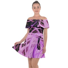 Purple Fractal Artwork Feather Off Shoulder Velour Dress by Pakrebo