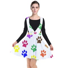 Pawprints Paw Prints Paw Animal Plunge Pinafore Dress by Pakrebo