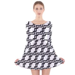 Pattern Monochrome Repeat Long Sleeve Velvet Skater Dress by Pakrebo