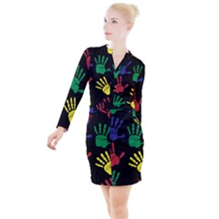 Handprints Hand Print Colourful Button Long Sleeve Dress by Pakrebo