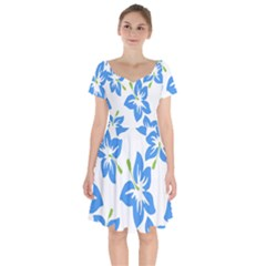 Hibiscus Wallpaper Flowers Floral Short Sleeve Bardot Dress