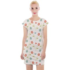 Floral Pattern Wallpaper Retro Cap Sleeve Bodycon Dress