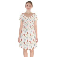 Floral Pattern Wallpaper Retro Short Sleeve Bardot Dress