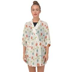 Floral Pattern Wallpaper Retro Half Sleeve Chiffon Kimono by Pakrebo