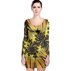 Fractal Art Colorful Pattern Long Sleeve Bodycon Dress