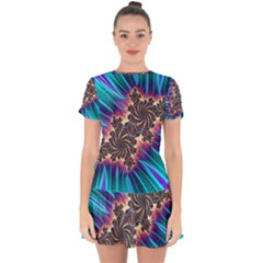 Fractal Mandelbrot Mathematical Drop Hem Mini Chiffon Dress by Pakrebo