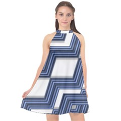 Geometric Fabric Texture Diagonal Halter Neckline Chiffon Dress  by Pakrebo