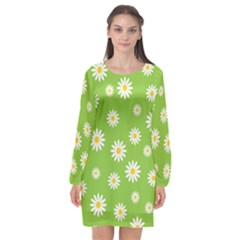 Daisy Flowers Floral Wallpaper Long Sleeve Chiffon Shift Dress  by Pakrebo