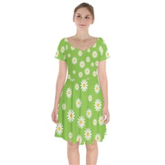 Daisy Flowers Floral Wallpaper Short Sleeve Bardot Dress