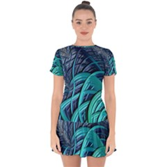 Oceanic Fractal Turquoise Blue Drop Hem Mini Chiffon Dress