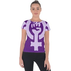Logo Of Feminist Party Of Spain Short Sleeve Sports Top  by abbeyz71