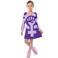 Logo Of Feminist Party Of Spain Kids  Long Sleeve Velvet Dress by abbeyz71