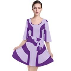 Logo Of Feminist Party Of Spain Velour Kimono Dress by abbeyz71