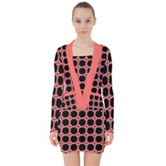 Between Circles Coral And Black V Neck Bodycon Long Sleeve Dress by TimelessFashion