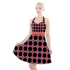 Between Circles Coral And Black Halter Party Swing Dress  by TimelessFashion