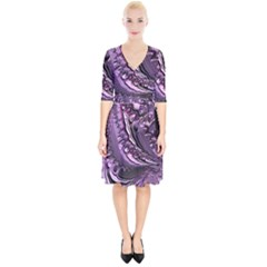 Purple Fractal Flowing Fantasy Wrap Up Cocktail Dress by Pakrebo
