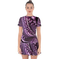 Purple Fractal Flowing Fantasy Drop Hem Mini Chiffon Dress