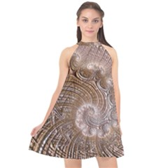 Fractal Art Pattern 3d Artwork Halter Neckline Chiffon Dress