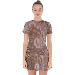 Fractal Art Pattern 3d Artwork Drop Hem Mini Chiffon Dress by Pakrebo