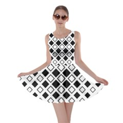 Square Diagonal Pattern Monochrome Skater Dress by Pakrebo
