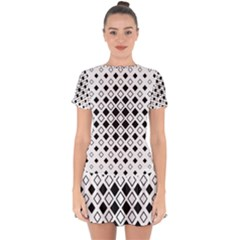 Square Diagonal Pattern Monochrome Drop Hem Mini Chiffon Dress