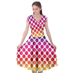 Polka Dots Spectrum Colours Dots Cap Sleeve Wrap Front Dress