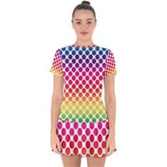 Polka Dots Spectrum Colours Dots Drop Hem Mini Chiffon Dress by Pakrebo