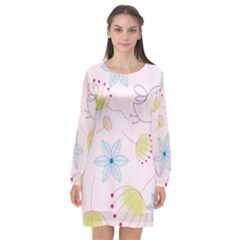 Floral Background Bird Drawing Long Sleeve Chiffon Shift Dress