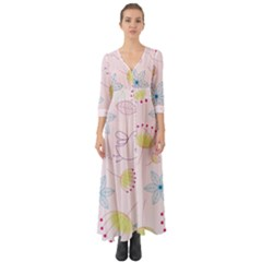 Floral Background Bird Drawing Button Up Boho Maxi Dress by Pakrebo