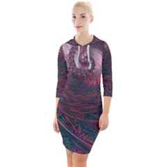 Fractal Artwork Digital Pattern Quarter Sleeve Hood Bodycon Dress