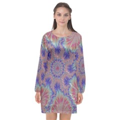 Purple Splat Fractal Art Long Sleeve Chiffon Shift Dress  by Pakrebo