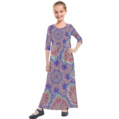 Purple Splat Fractal Art Kids  Quarter Sleeve Maxi Dress