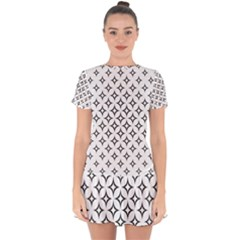 Star Curved Pattern Monochrome Drop Hem Mini Chiffon Dress by Pakrebo