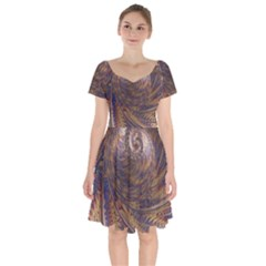Swirl Fractal Fantasy Whirl Short Sleeve Bardot Dress