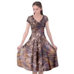 Puckered Fractal Artwork Design Cap Sleeve Wrap Front Dress by Pakrebo