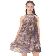 Puckered Fractal Artwork Design Halter Neckline Chiffon Dress