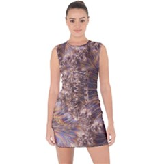Puckered Fractal Artwork Design Lace Up Front Bodycon Dress