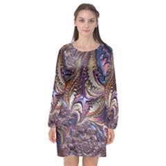 Fractal Artwork Pattern Digital Long Sleeve Chiffon Shift Dress