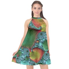 Fractal Art Colorful Pattern Halter Neckline Chiffon Dress