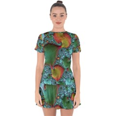 Fractal Art Colorful Pattern Drop Hem Mini Chiffon Dress