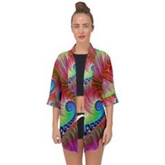 Fractal Art Fractal Colorful Open Front Chiffon Kimono by Pakrebo
