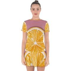 Pop Art Orange  Drop Hem Mini Chiffon Dress by Valentinaart