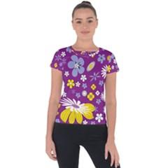 Floral Flowers Wallpaper Paper Short Sleeve Sports Top  by Pakrebo