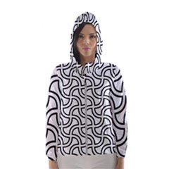 Pattern Monochrome Repeat Hooded Windbreaker (women) by Pakrebo