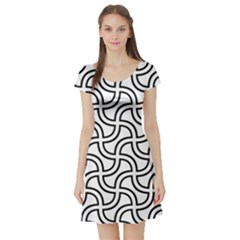 Pattern Monochrome Repeat Short Sleeve Skater Dress by Pakrebo