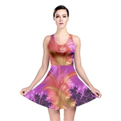 Fractal Puffy Feather Art Artwork Reversible Skater Dress by Pakrebo