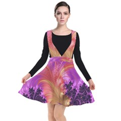 Fractal Puffy Feather Art Artwork Plunge Pinafore Dress by Pakrebo